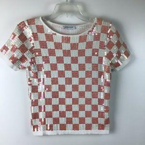 GEORGES RECH Sequin Checkerboard Short Sleeve Top